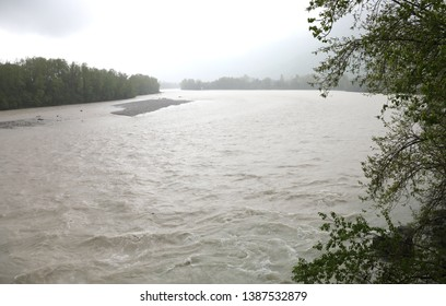 flood of river Tagliamento in Friuli Region in Italy during a violent downpour