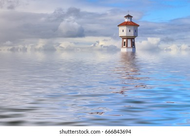 Flood simulation. Lighthouse and water tower at the island of Langeoog, Lower Saxony, Germany