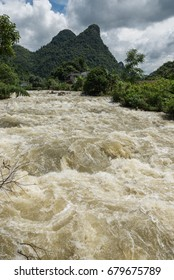 Flood in Tong'ling Gorge due to continuous rain, West Guang'xi Province, China.