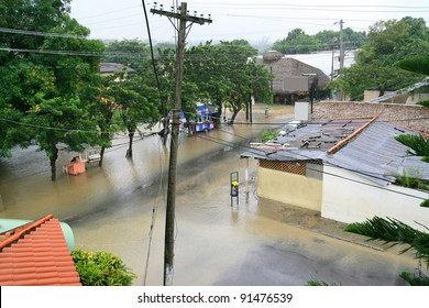 Flood in tropical city