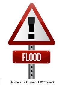 flood warning sign illustration design over white