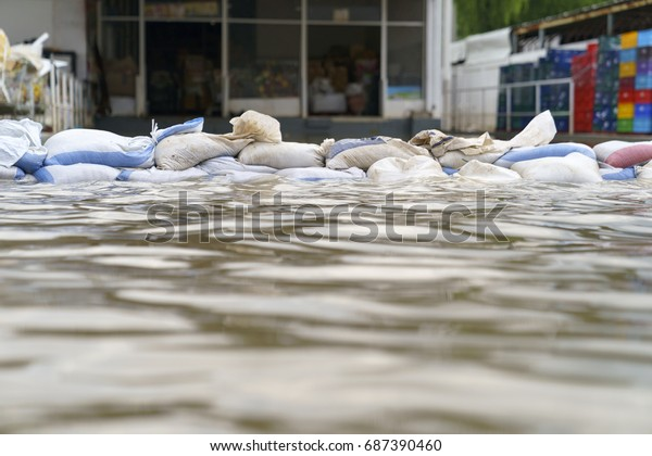 Flood water - Sandbags for flood defense