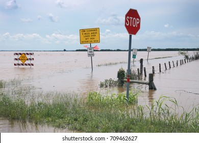 Flooded area next to Houston, Brazoria, Taxas, US. Consequences of the Hurricane  Harvey
