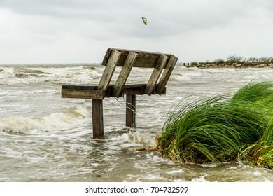 Flooded beach during Hurricane Harvey