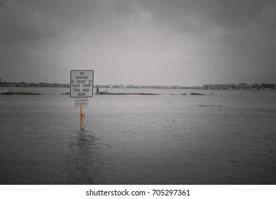 Flooded boat dock in clear lake during Hurricane Harvey