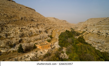 Flooded calm city Turkey Mesopotamia old settlement old stone houses Euphrates wonderful nature landscape Panorama different angles shooting in the air general image Tourism travel trip Greek castle.
