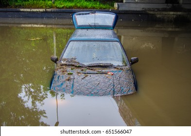 Flooded car, which struck a natural disaster.