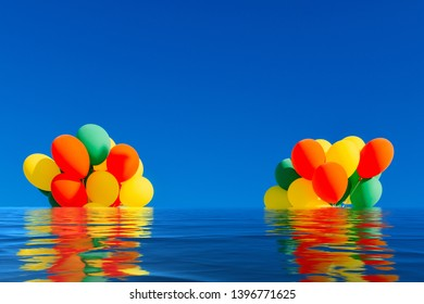 Flooded colorful balloons on a blue sky background with reflection on water.