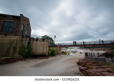 Flooded falls of the Big Sioux river in Sioux Falls South Dakota after heavy rains.