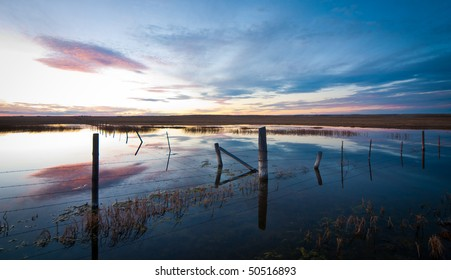 Flooded field at sunset with fence