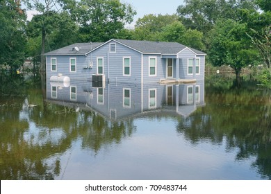 The flooded house. Consequences of Hurricane Harvey, Texas, USA