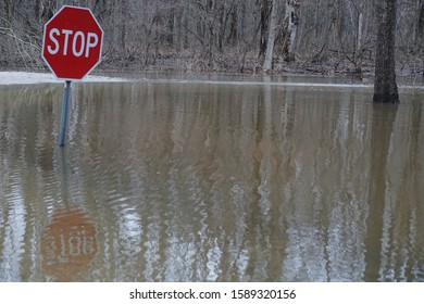 Flooded intersection in a park with a stop sign halfway covered
