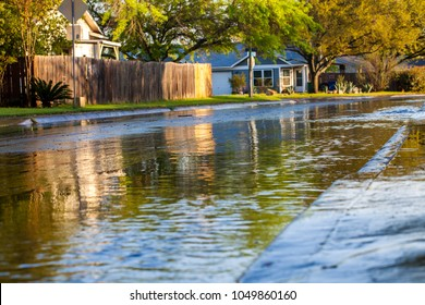 Flooded neighborhood street after thunderstorm