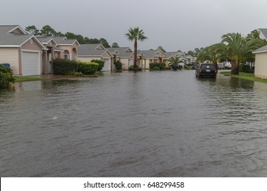 Flooded neighborhood streets