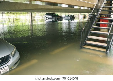 Flooded parking on the ground floor