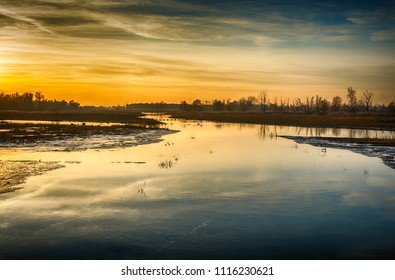 Flooded part of the Noordwaard polder in the Dutch National Park De Biesbosch near the village of Werkendam. The setting sun colors the sky orange. The photo was made on a day in the winter season.