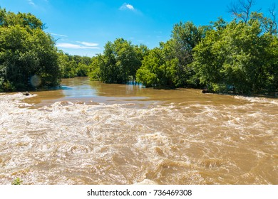 Flooded river after heavy rain.