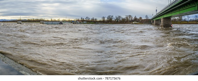 Flooded river, water lock at Breisach, Germany 05.01.2018