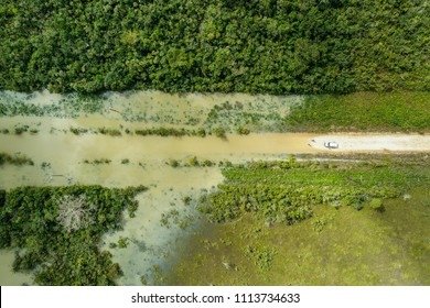 Flooded road in Central America