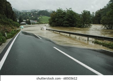 Flooded Road in Slovenia