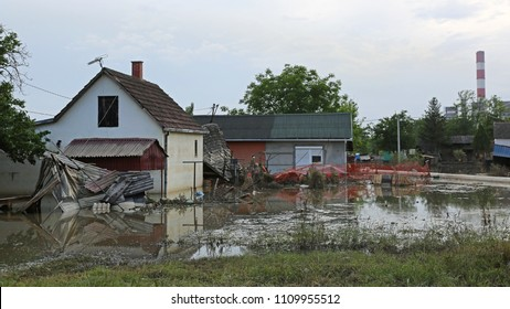 Flooded and Ruined Houses in Floods Disaster