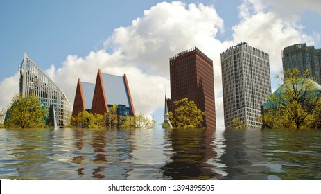 Flooded skyline of The Hague, Netherlands digital manipulation concept.