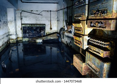 "Flooded soviet fallout shelter with rusted equipment still on the walls. Illuminated by flashlight. Translation: ""Связь гражданской обороны"" – Civil defence  communication"