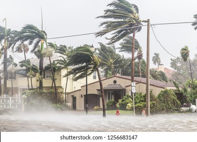 A flooded street after catastrophic Hurricane Irma hit Fort Lauderdale, FL.