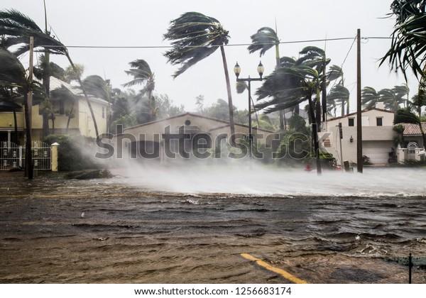 Calle inundada luego que el catastrófico huracán Irma golpeara Fort Lauderdale, FL.