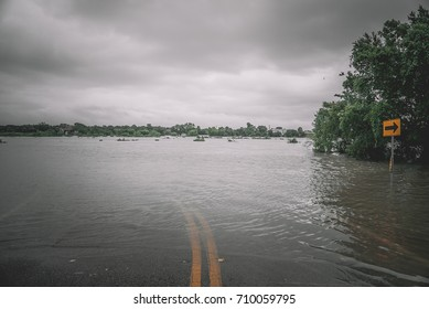 Flooded street during Hurricane Harvey