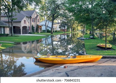 Flooded streets of Houston and boats on them. Consequences of the Hurricane, Texas, USA