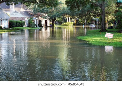 Flooded streets of the neighborhood, drowned cars. Houston, Texas, US. Consequences of the Hurricane Harvey