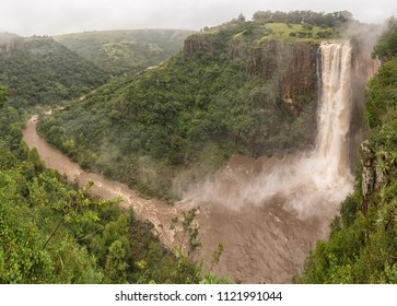 The flooded Umgeni River plunges 95 m down the Howick Falls, in Howick, in the Kwazulu-Natal Midlands Meander