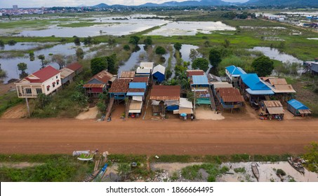 Flooded villages in western Cambodia . Flood on the Kampong Chhnang. View from flying drone of Kampong Chhnang village after few days of huge rain.