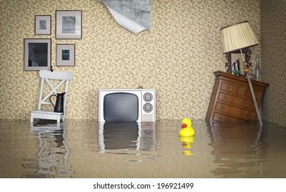 Flooded vintage interior. 3d concept