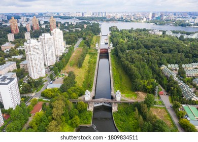 Floodgates on the Moscow canal in Moscow, Russia. Aerial view on Moscow canal.