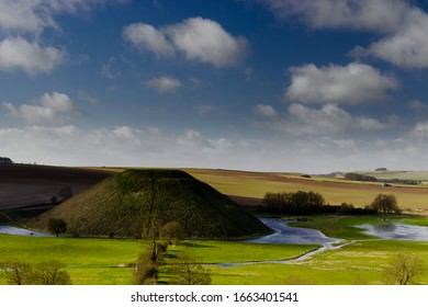 Flooding around Silbury Hill, near Avebury, in the county of Wilshire, England, during winter.