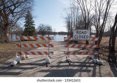 Flooding closes a road in Fargo, North Dakota.