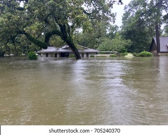 Flooding from Hurricane Harvey in Spring Texas, a couple miles north of Houston off East Cypresswood Drive.