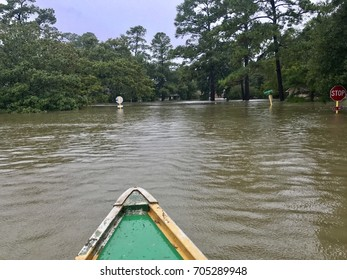 Flooding from Hurricane Harvey in Spring Texas, a couple miles north of Houston off East Cypresswood Drive. Canoe rescues running for people and animals.