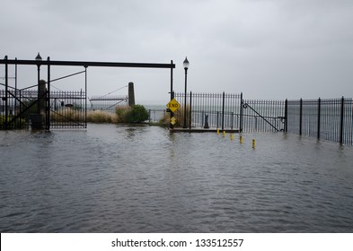 Flooding in Red Hook, Brooklyn, during hurricane Sandy.