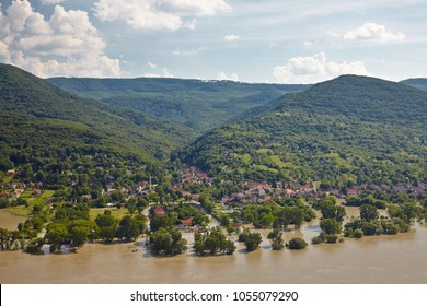 Flooding river inundating a village at river Danube's record high level in 2013