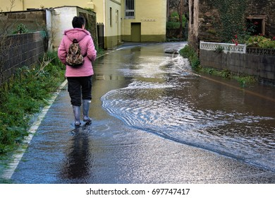 Flooding of rivers, floods, torrential rains in the north of Spain,