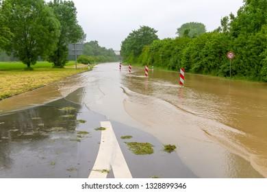 Flooding street in spring