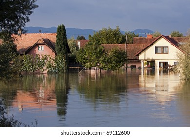 Flooding waters of river Sava and Krka in Slovenia, September 2010