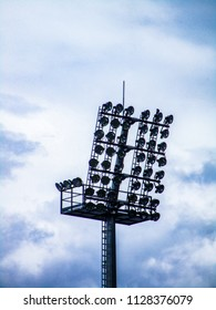 Floodlight pylons in a football stadium in Lithuania