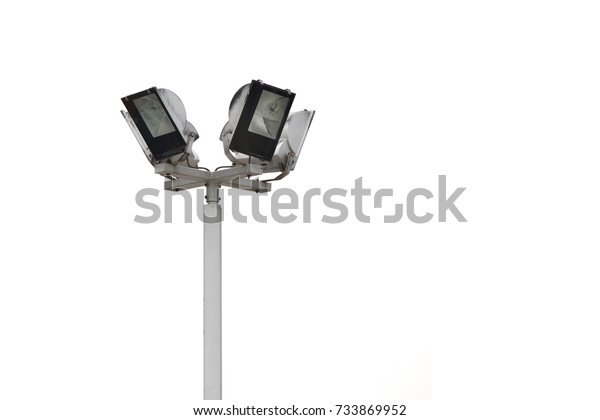 Floodlight Tower Lighting Pole Tower Sports Stock Photo