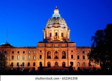 Floodlights shine on the Minnesota State Capitol in St Paul