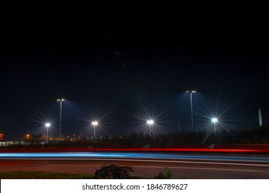 Floodlights at a soccer field at night