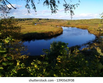 floodplain winding river, countryside view in summer